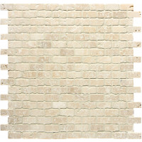 Small Brickbond Crema Travertine Tumbled Venetian Mosaics